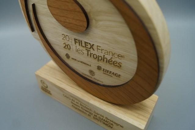 détail bois gravé sur mesure, marquage laser logo entreprise trophée, trophée eco-responsable