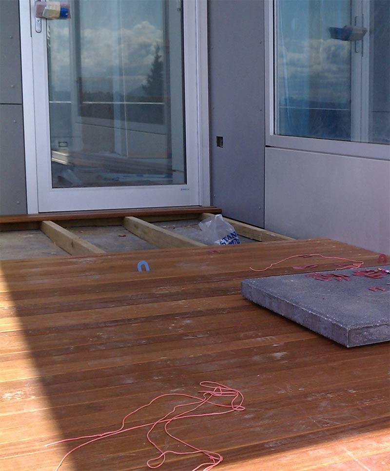 build wood deck over concrete