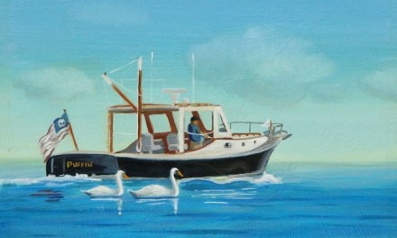 "New P.J. Cook Marine Oil Painting For Sale ""Puffin"" Boat With Swans"