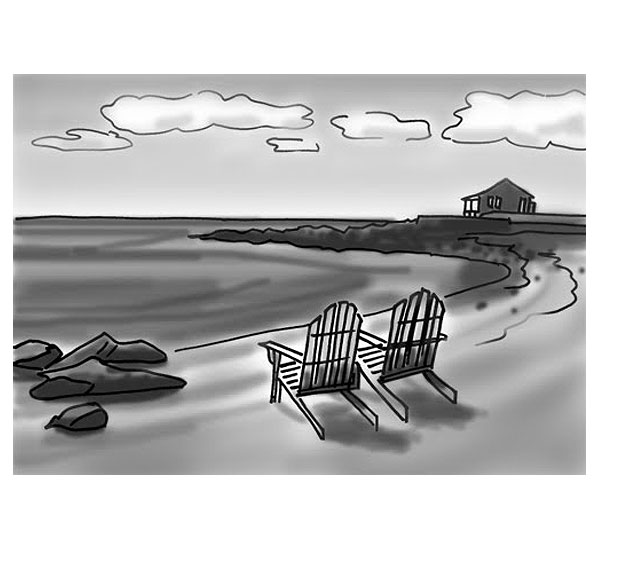 Line Drawing With Values for Seascape Painting
