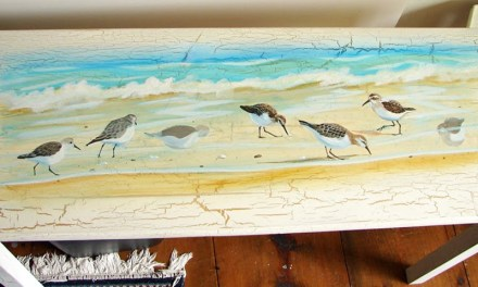 Painting Custom Cottage Furniture – Acrylic Painting of Sandpiper Birds On Sofa Table