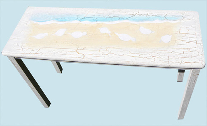 Painting of Sandpiper Birds Running On the Beach – First Step In Painting A Seascape On a Sofa Table