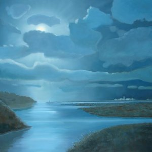 moonlight oil painting by P.J. Cook