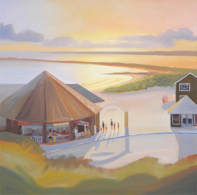 Next Step In Oil Painting of the Flying Horse Carousel in Watch Hill, Rhode Island