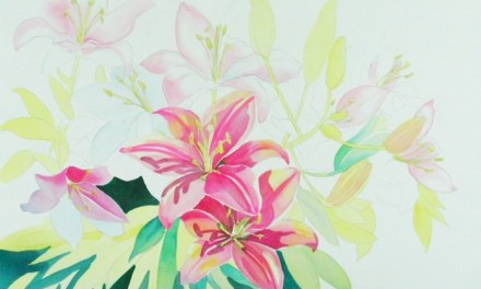 Continuing Large Watercolor of Lily Flowers – Using Masking Fluid
