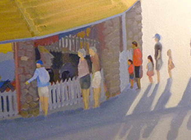 Painting the Detail on Watch Hill Merry Go Round Oil Painting on Canvas