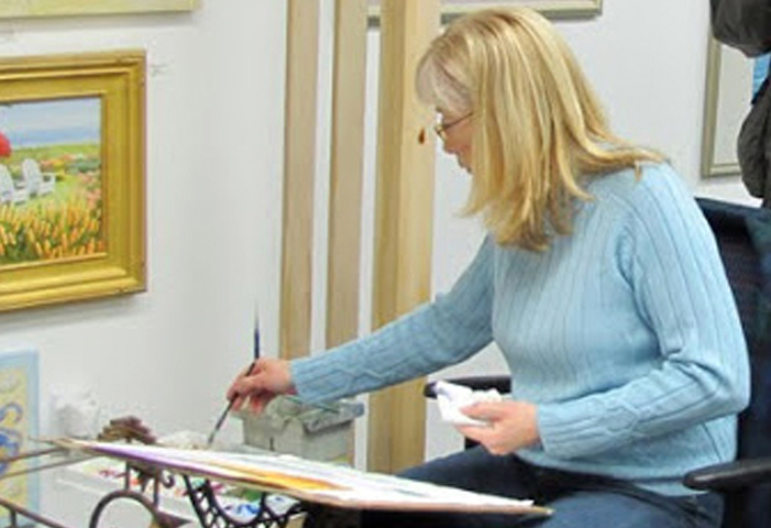 Watercolor Demonstration in Old Saybrook During Gallery Opening
