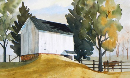 Nice Landscape Painting of a New England Barn and Horse