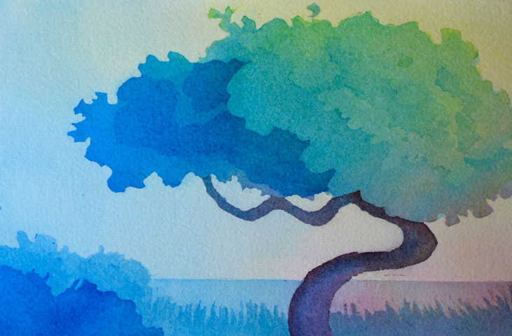 Florida Landscape Paintings-watercolors with only 3 colors