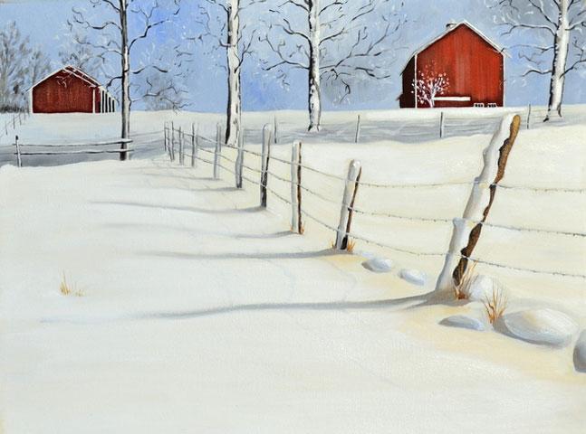 Red Barn Snow Scene Oil Painting