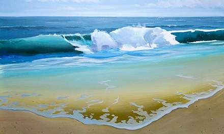 Continuing Seascape Oil Painting of Ocean Wave With Sandy Beach