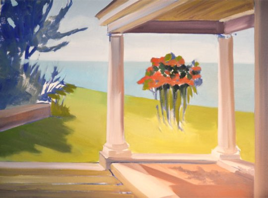blocking in canvas with oil paint in this landscape with a porch and flowers