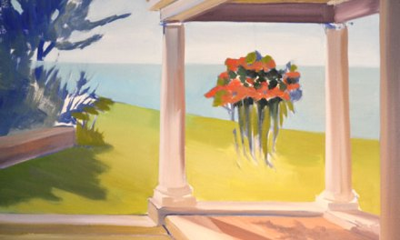 Flower Painting-Landscape with Porch and Flowers