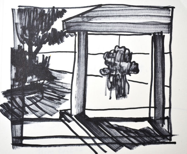 sketch in marker for landscape painting with flowers