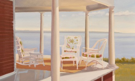 Continuing Oil Painting of Pretty Porch Overlooking Ocean