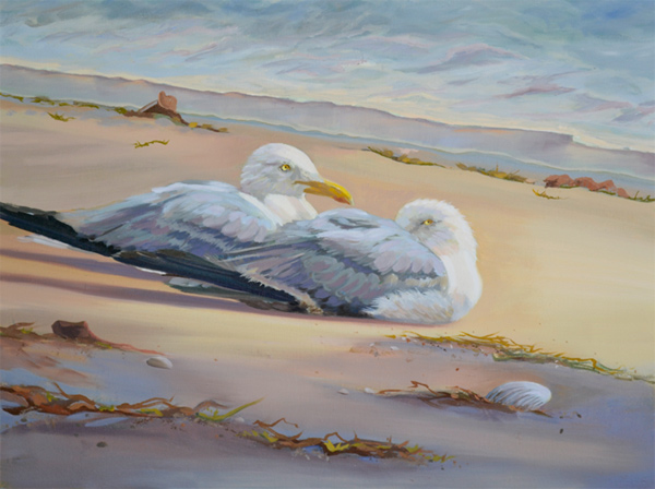 """After the Storm"" oil painting of two seagulls resting on beach"