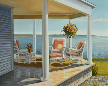 landscape painting of a pretty porch with wicker overlooking the ocean