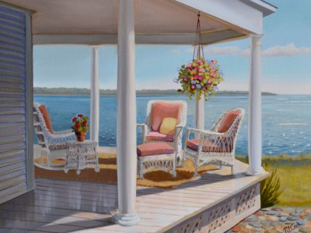 landscape painting of wicker on a porch overlooking the bay