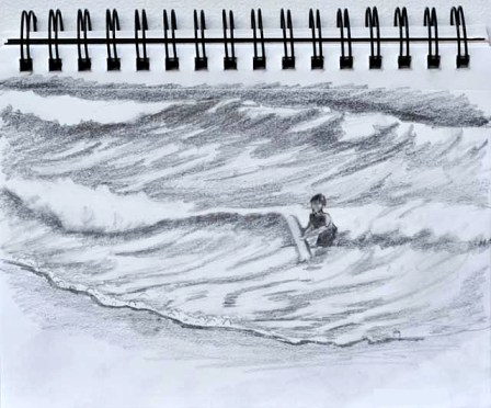 sketching ocean waves and adding a boy riding the waves on a boogie board.
