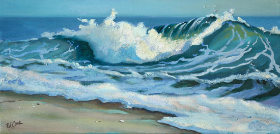 colorful wave painting on canvas by artist PJ Cook