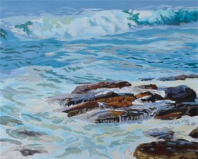 unfinished ocean wave painting started in oil paint on canvas by P.J. Cook