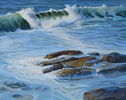 wave painting in oil paint by artist P.J. Cook