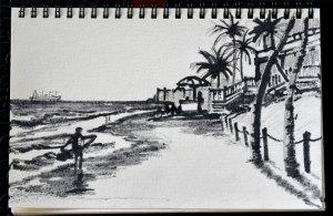 watrcolor pencil sketch of a beach by artist P.J. Cook