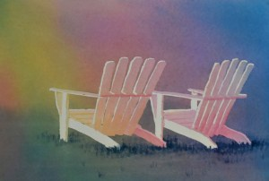 colorful painting original watercolor of two adirondack chairs