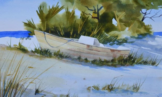 Beach Scene with Sand Dunes and Old Boat