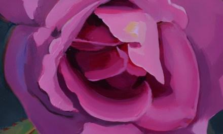 Luscious Deep Pink Rose Oil Painting