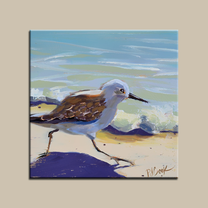 sandpipers beach bird running on the sand oil painting on gessoboard,