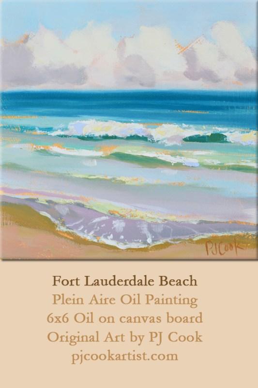 waves ft lauderdale florida beach plein aire oil painting.