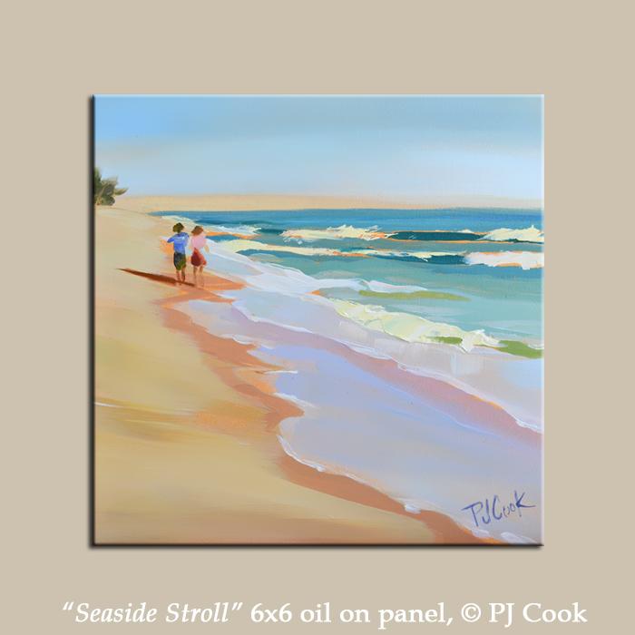 6x6 oil on gessoboard, beach scene, couple walking
