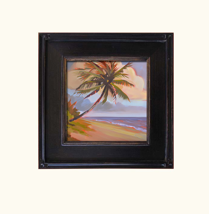 Florida beach and palm tree at sunrise original oil painting by PJ Cook.