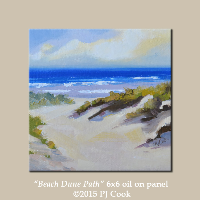 beach ocean waves dune path, sand, ocean, grass all featured in this original oil.