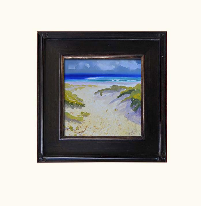 Beach Sand Dunes original oil painting Striking Color Ocean Waves Dunes Grass Sand Original PJ Cook