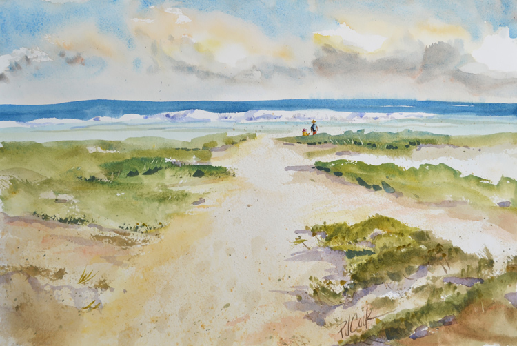 original painting of a sand dune path to the beach by PJ Cook