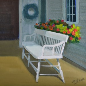 sunlit porch with white bench and flowers oil painting PJ Cook.