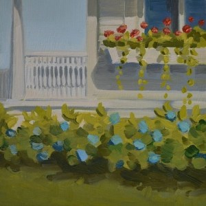 Impressionism Art Oil Landscape Realism Painting Watch Hill Porch Flowers PJ Cook