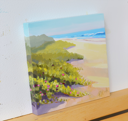 Landscape Oil Painting Ocean View Beach Flowers by artist PJ Cook Oil on raised wood panel 4 x 4 inches Side view.