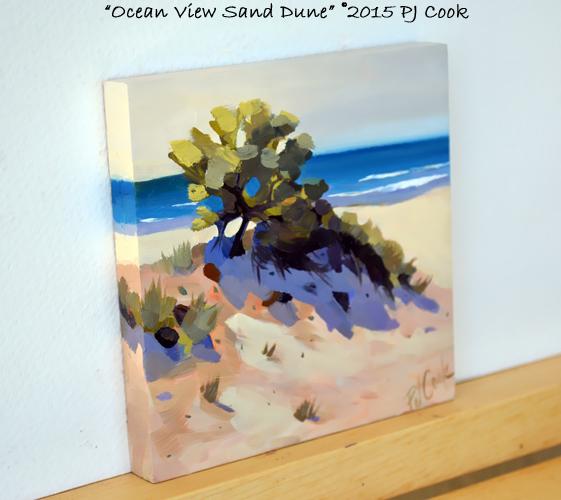 side view ocean sand dune waves oil on panel original by PJ Cook