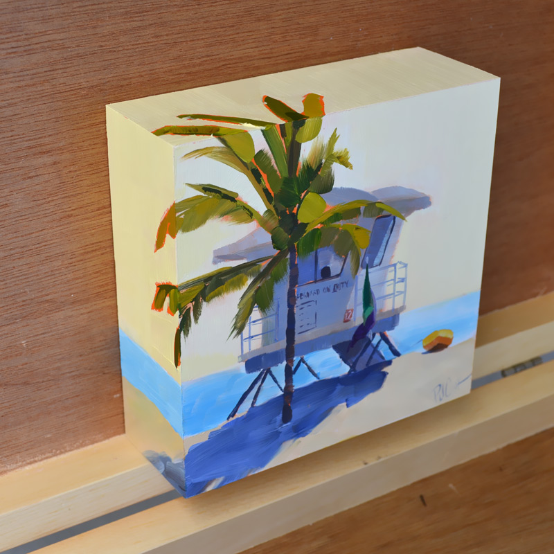 raised panel oil painting of lifeguard station by PJ Cook
