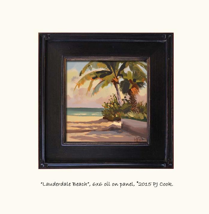 6 x 6 oil on panel, original painting lauderdale beach PJ Cook