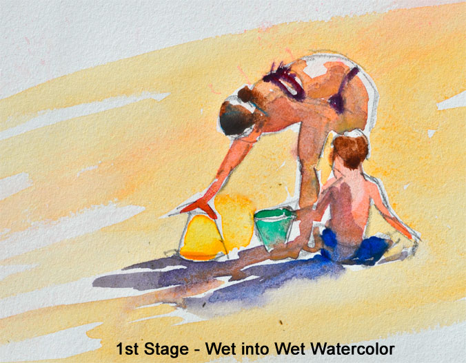 how to paint beach figures a watercolor tutorial