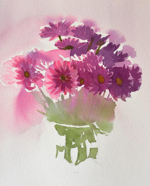 work in progress of crystal vase with violet flowers watercolor