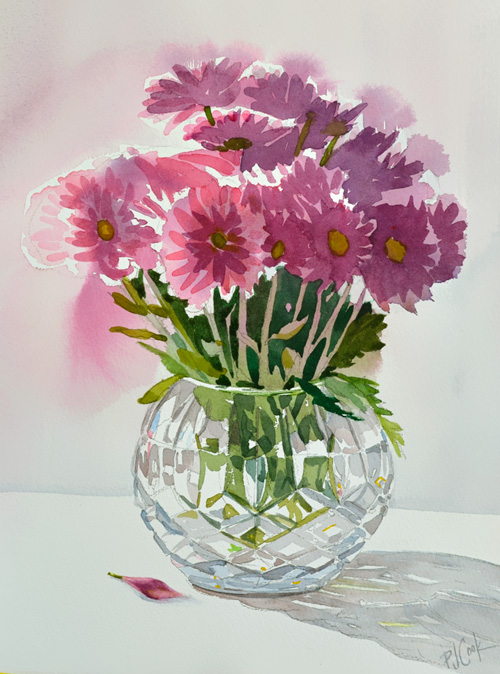crystal vase with violet flowers watercolor