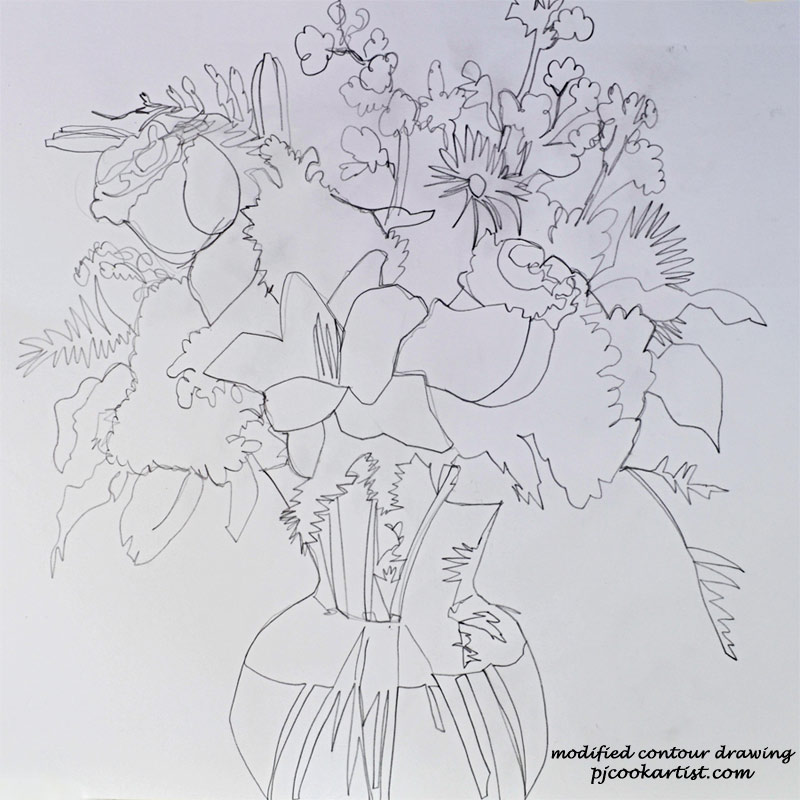 floral sketch done in a modified contour drawing