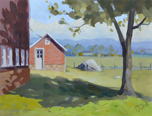 landscape painting of farm and small milk house,8x10 oil on panel 2016 PJ Cook