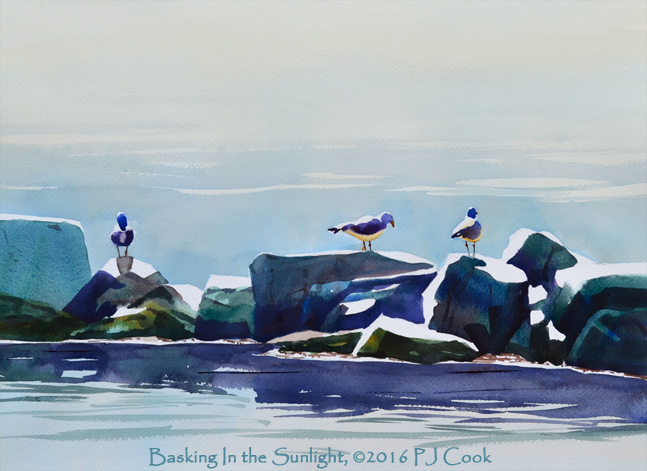 """Seagulls on a rocky breakwater in the sun is the focus in original painting 14"""" x18"""" watercolor on paper."""