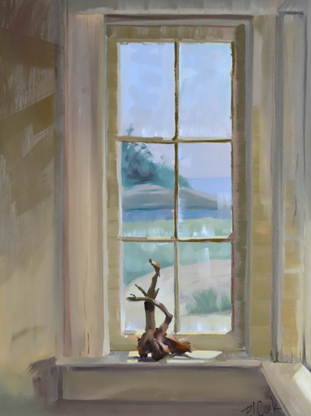 """driftwood on display on a window sill with an ocean view in the background, oil on panel, 16"""" x 12"""" original painting by PJ Cook."""
